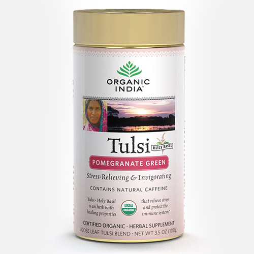 Tulsi Tea Pomegranate Green - Blik (Organic India)