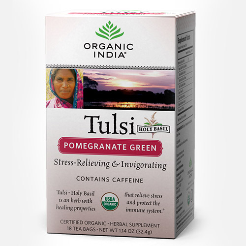 Tulsi Pomegranate Green Tea - Zakje (Organic India)