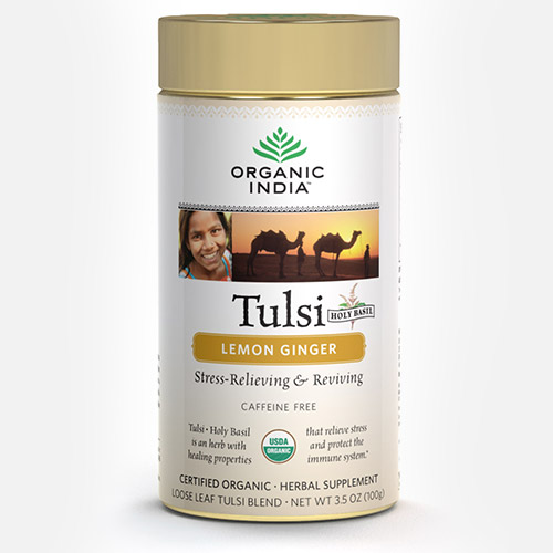Tulsi Tea Lemon Ginger - Blik (Organic India)